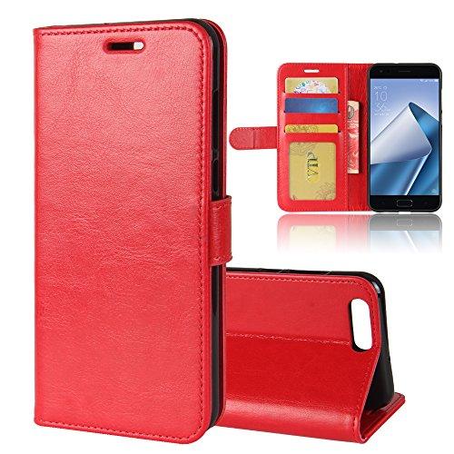 ASUS Zenfone 4 ZE554KL Brieftasche Hülle, GOGMEE® Senior PU-Leder Brieftasche Handy-Kasten mit Einschubfächer für Karten, Magnetische Verschluss, Flip Bracket Funktion, Rot