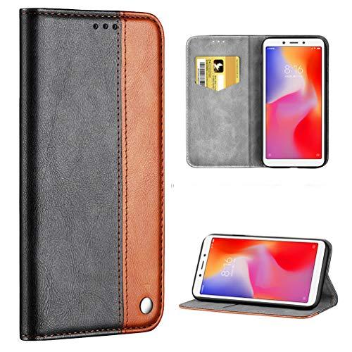 ToneSun Funda para Xiaomi Redmi 6A, funda de piel de negocios con billetera, funda tipo libro: Negocio, multifunción, funda tipo cartera, color marrón