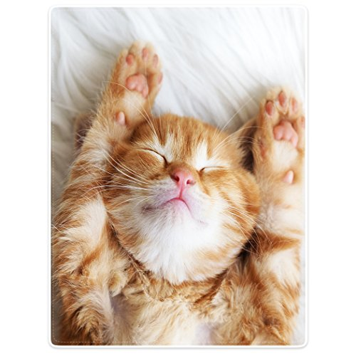 YISUMEI Decke 150x200 cm Kuscheldecken Sanft Flanell Weich Fleecedecke Bettüberwurf Kätzchen Katze Schlaf Gelb