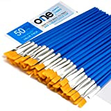 50 Pcs Flat Paint Brushes Set with Synthetic Hair, Short Plastic Handle, Small