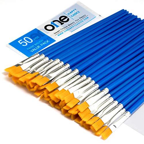 ONE HAPPY CHOICE 50 Stück Flachpinsel-Set mit Kunsthaar, kurzer Kunststoffgriff, kleiner Pinsel-Bulk-Kit, Acryl-Öl Aquarell Kunstmalerei für Kinder