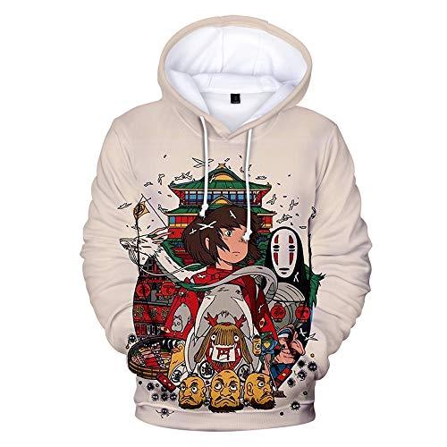 Dsti 3D Hayao Miyazaki Anime Spirited Away Impreso Sudaderas con Capucha Hoodies Sweatshirt Bolsillos de Mangas Largas,5XL