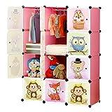BRIAN & DANY Armario Modular Infantil de Puertas con Motivos de Animales Estanterías por Módulos Armario de Almacenaje, Rosa, 110 x 47 x 147 cm