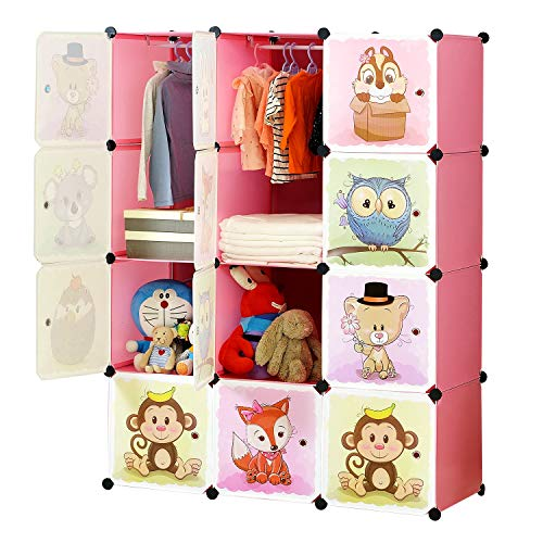 BRIAN & DANY Erweiterbares Kinderregal Kinder Kleiderschrank Stufenregal Bücherregal mit Türen & 2 Aufhängern, Tiefere Fächer als Normal (45 cm vs. 35 cm) für mehr Platz, 110 x 47 x 147 cm, Rosa