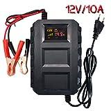 Etrogo Chargeur de Batterie pour Voiture,12V 10A Mainteneur de Batterie Intelligent Affichage LCD avec Protections Multiples, Pince Crocodile en Cuivre Pur pour Voiture, Moto, Bateau