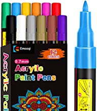 Acrylic Paint Pens,Emooqi Marker Pens for DIY Craft Projects Waterproof Permanent Paint Art Marker for Rock Painting, Ceramic, Glass,Canvas,Mug,Wood,0.7mm fine tip (12 PCS)