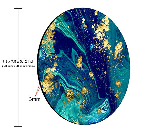 Smooffly Blue Marble Round Mouse Pad Cute Mat Gold Green Turquoise Circular Mouse Pads Size 7.9 x 7.9 x 0.12 Inch Photo #5