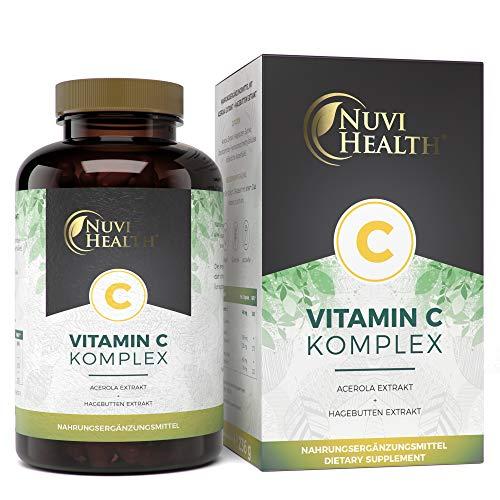 Nuvi Health Natürlicher Vitamin C Komplex - 240 Kapseln - Acerola-Extrakt & Hagebutten-Extrakt mit...
