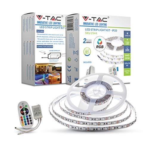 Kit Completo Striscia LED Rgb Smd5050 300LED 1000Lm 120° Ip20 5Mt e Centralina con Telecomando e Alimentatore 12V