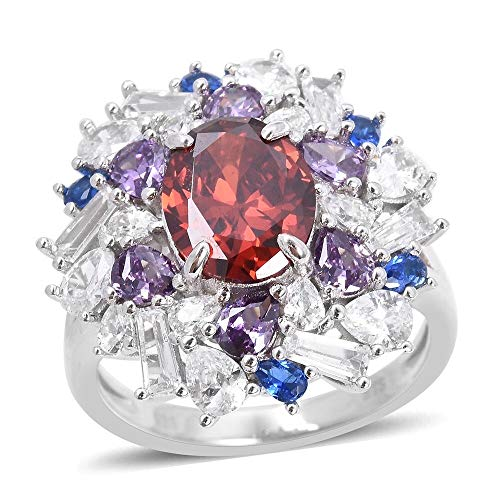 ELANZA Garnet Colour Cz Cocktail Ring for Women in 925 Sterling Silver with White Cubic Zirconia, Purple Blue Cubic Zirconia Size O, 7.97 Ct