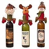 3 piezas de Navidad botella de vino bolsa regalo cubierta 3D Santa Claus reno muñeco de nieve botella de vino cubierta vajilla para Navidad Año Nuevo Decoración