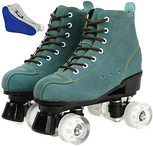 BCLGCF Patines de Piel de Vaca para Mujeres y Hombres Zapatos de caña Alta Diseño de Doble Fila, Patines de Ruedas de caña Alta de Cuero Suave Ajustable con Bolsa para Zapatos, White Wheel,44