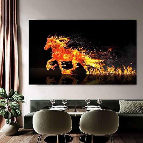 Pinturas de caballos abstractas arte de pared caballo de fuego lienzo pintura carteles de animales e impresiones para decoración de sala de estar cuadro de pared Quadro 30x55 CM (sin marco)