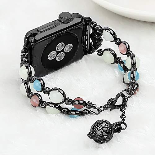 Light Compatible con Correa de Reloj Apple Watch Band 38mm/40mm, Correa Para Mujer Niña Compatible con iWatch Series 6 5 4 3 2 1 SE((Night Black, 38mm/40mm (6.8-8.8in))