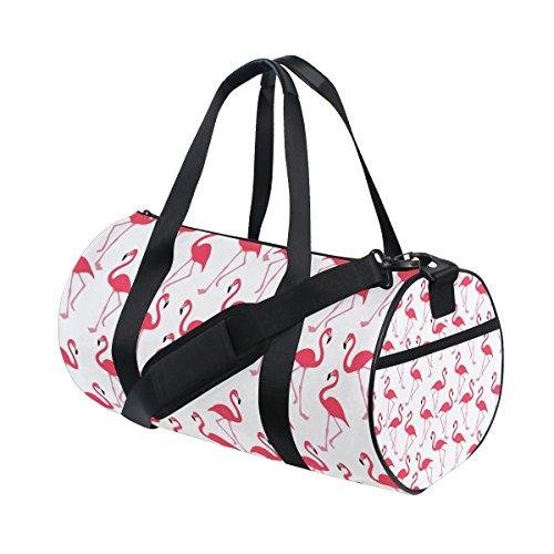 Gym Bag Pink Flamingo Duffle Bag Sports Travel Luggage Bag with Shoulder Strap Tote Portable