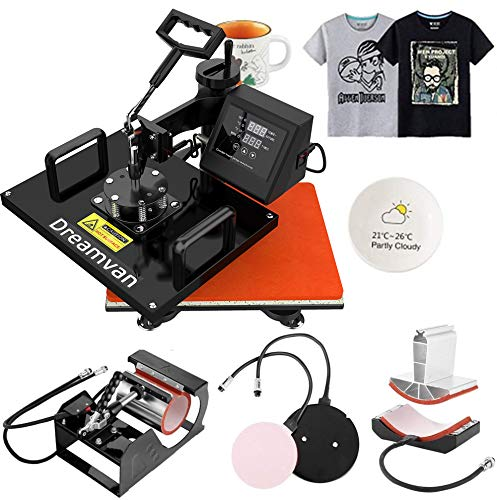 Heat Press 5 in 1, Heat Transfer Machine 12X15-950W, Digital LED Timer 360° Tshirt Press Machine Combo, t Shirt Maker Swing Away Machine for T-Shirts Hat/Cap Mug Plate