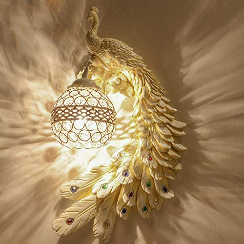 Xwyun l¨¢mpara de pared de resina europea l¨¢mpara de fondo de malaquita n¨rdica l¨¢mpara de cama LED l¨¢mpara de pasillo l¨¢mpara de pared de cristal (45 x 30 cm) (c)
