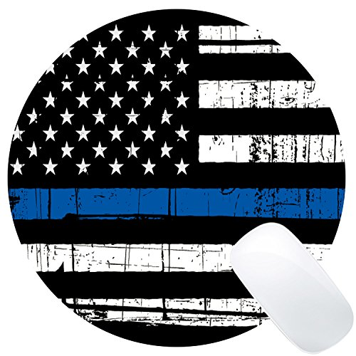 Wknoon Round Gaming Mouse Pad Custom Design, Vintage Weathered Thin Blue Line US Flag Law Enforcement, 8' Non-Slip Rubber Mousepad Mat