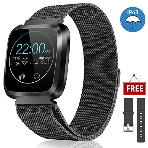 catshin Fitness Watch Heart Rate Monitor IP68 Fitness Tracker Waterproof Pedometer Calroies Counter Sleep Monitor Remote Camera Control Message Notification Sports Smartwatch for Android iOS (Black)