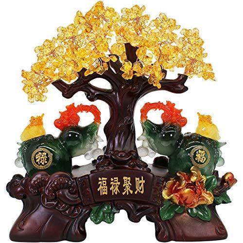 liushop Estatua De Meditación Citrino Ornamentos Feng Shui Suerte estatuilla del árbol del Dinero de TV gabinete del Vino Sala Decoraciones caseras Display Riqueza Feng Shui Interior