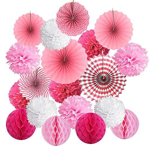 IWILCS Decoración Fiesta Abanicos de Papel Flores Pompom Bolas de Nido de Abeja Guirnaldas para bodas, cumpleaños, verano hawaiano Celebración Fiesta de Cumpleaños Bodas Carnaval Mexicano