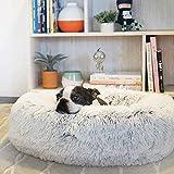 SNFHL Funda Extraíble Soft Dog Bed, Cojín Extra Grande de Piel Artificial para Perros, Almohada para Sofá Cama para Mascotas,XXL-Light Gray