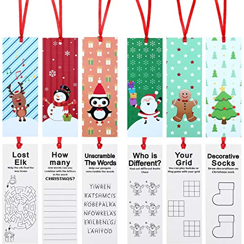 Christmas Holiday Bookmarks Christmas Character Bookmarks with Santa Snowman Reindeer Christmas Tree Design for Xmas Gifts Party Favors (60 Pieces)