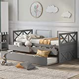 Merax Solid Wood Daybed Bed Frame No Box Spring Needed with X-Style Headboard,...