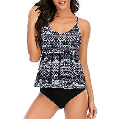 Zando Womens Swimsuits High Waisted Swimsuit Printed Tankini Top with Bikini Bottom Swimwear Modest Swimming Suit Tummy Control Bathing Suits 2 Piece Bathing Suit Floral Tankini Black Geometry 12-14