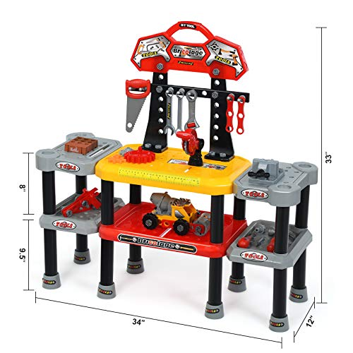 Costzon Kids Pretend Tool Toy Workbench, 121 Pieces Work Shop Toy Tool Kit w/ Wrench Gear, Circular Saw, Spacious Double-Tier Design, Preschool Toy Gift for Toddler Children Boys Girls (Workbench)