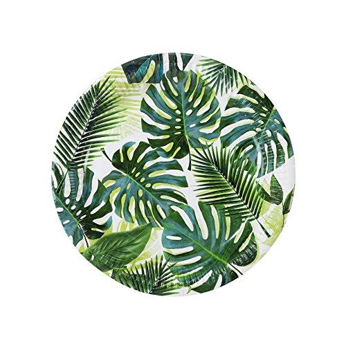 Talking Tables Tropical Fiesta, Pappteller mit Blattmotiv, grün, 23 cm (8 Stück in 1 Design)