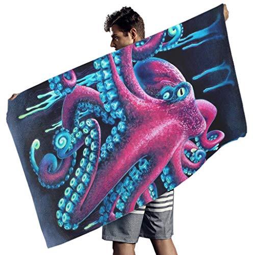 Perstonnoli Toalla de playa de microfibra con diseño de pulpo occéano, ligera, toalla de playa, toalla de playa, manta de pícnic, esterilla de yoga, toallas, rectangular, color blanco, 150 x 75 cm