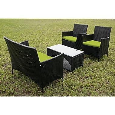 Merax 4 PCS Cushioned Outdoor PE Wicker Patio Set Garden Lawn Rattan Sofa Furniture Conversation Set (Green)