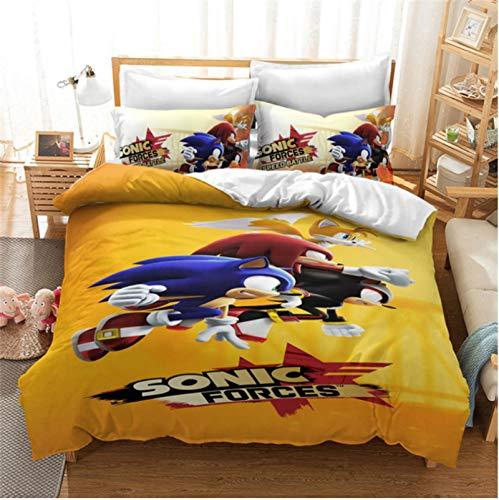 Hanyyj Funda Nórdica Sonic The Hedgehog Anime Juego De Cama Personaje De Dibujos Animados 3D Traje De Tres Piezas 140X210Cm