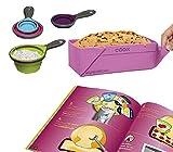 COOX Kinder-Backset (6 TLG.) ab 6 Jahren inkl. Rezeptheft mit 10 Rezepten, Wunderform Beere und 4 Faltbare Silikon-Messbecher - Kinder können größtenteils Kuchen, Desserts und Brötchen selber Machen
