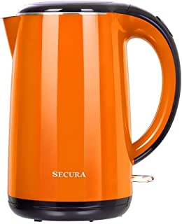 Secura The Original Stainless Steel Double Wall Electric Water Kettle 1.8 Quart (Orange) (Renewed)