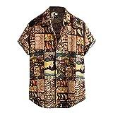 JJZSL Camisa Hawaiana De Verano Para Hombres Vintage Étnico Casual Manga Corta Camisa Blusa Camisa Camisas (Color : A, Size : XXXL code)