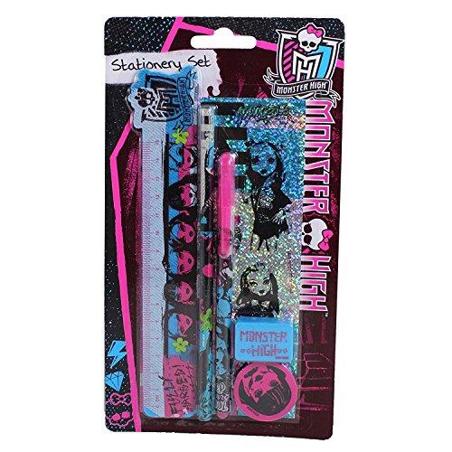 Schreibset mit Design von Monster High, enthält Bleistifte, Anspitzer, Radiergummi, Lineal, ideal für die Schule