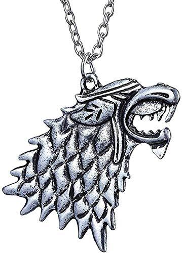 MNMXW Collar Wen Collar Canción del Lobo Colgante de Plata Antigua Joyería Hombres Collar Wen Cadena Colgante para Hombres Wen