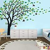QIANWEI Vinilo adhesivo para pared, diseño de árbol genealógico, color verde