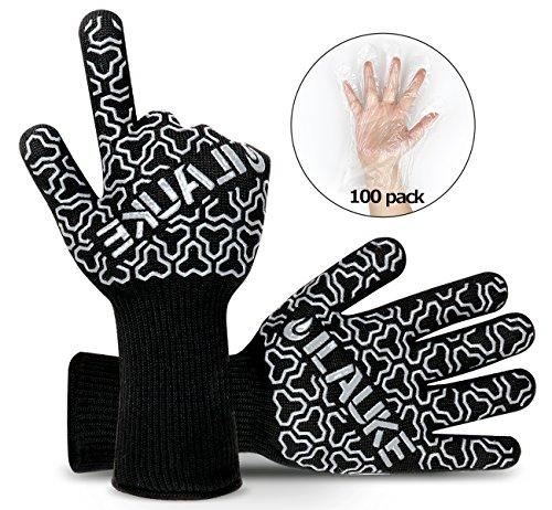 ilauke Grillhandschuhe Premium bis 500 °C Grill Ofenhansschuhe Kamin Backen Hitzebeständige Handschuhe aus Kevlar-Nomex Gewebe EN407 2er extra lang für Extreme Sicherheit gratis 100 Einweg Handschuhe