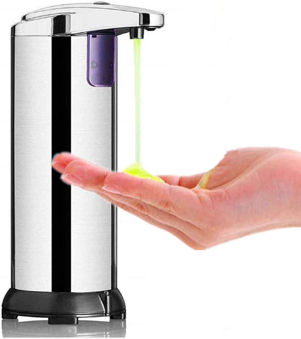 HJRUIUA Dispensador de Jabón Automático de Acero Inoxidable, Sensor de Movimiento por Infrarrojos, Base Impermeable, Interruptor Ajustable, para Baño, Cocinas, Hotel, Jabón Líquido, Champú, etc