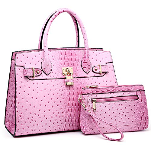 Women Handbags and Purses Ladies Shoulder Bag Ostrich Top Handle Satchel Tote Work Bag with Wallet (Pink)