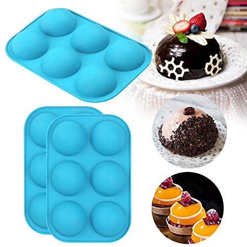 6 Holes Silicone Mold for Chocolate, Baking Mold for Making Hot Chocolate Bomb,Cake, Jelly, Pudding,...