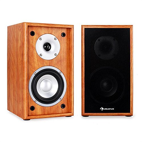 Nieuwe 150W HIFI Home Cinema Boekenplank Speaker Surround Sound Pair- Walnoot