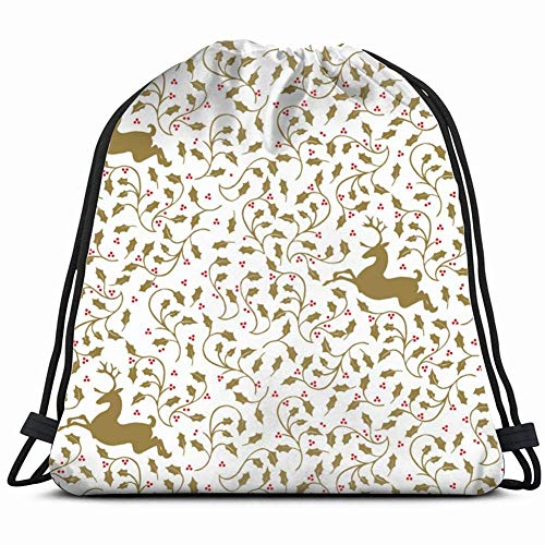 Ccsoixu Deer Gift Wrap Animals Wildlife Holidays Drawstring Backpack Gym Sack Lightweight Bag Water Resistant Gym Backpack for Women&Men for Sports,Travelling,Hiking,Camping,Shopping Yoga