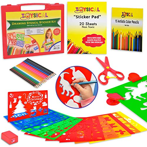 Toysical Kids Stencils Sticker Set for Girls & Boys - 52 Pc Drawing Art N Crafts Set with Non-Slip Clips in Travel Case - Birthday & Christmas Gift for 2, 3, 4, 5 & 6 Year Old Children