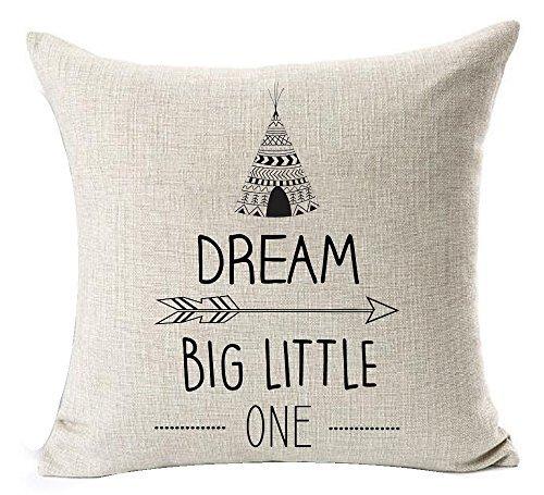Ymot101 - Fundas de cojín de lino y algodón, diseño con citas divertidas y texto en inglés 'Dream Big Little One Sketch', 45 x 45 cm, 18 x 18 cm, para sofá o sala de estar'