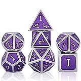 Schleuder Juego de Dados de rol Poliédricos, DND Dice Set de Metal de Aleación de Zinc para Dragones y Mazmorras RPG Enseñanza de Matemáticas D&D, D20, D12, 2 x D10, D8, D6 y D4 (Chrome - Violet)