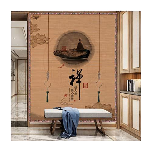 GDMING Drucken Bambusvorhänge, Wanddekoration Hintergrund, Separater Raum Raumteiler Rollo Zum Restaurant Tee Raum Küche, 46 Größen (Color : A, Size : 60x70cm)